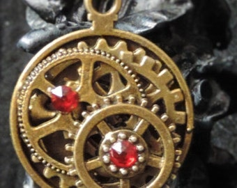 Long necklace steampunk bronze and Red