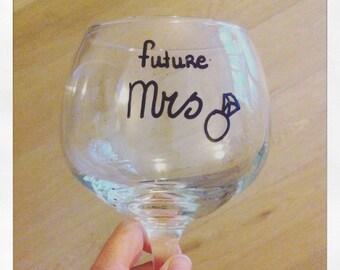 "Gintonic glass ""future Mrs."", personalized engagement glass"