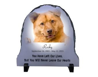 Dog Memorial Stone Photo Slate, personalized pet memorial plaque, dog lover photo slate