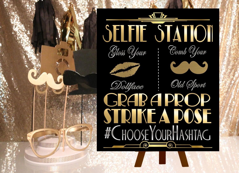Digital File Selfie Station Wedding Hashtag Gatsby Party