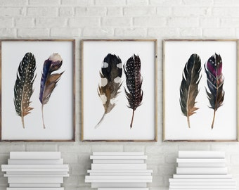 Watercolor art, Boho print, Feather print, Printable art, Aztec tribal art bohemian decor Feather wall art Set of 3 prints Home decor BD-756
