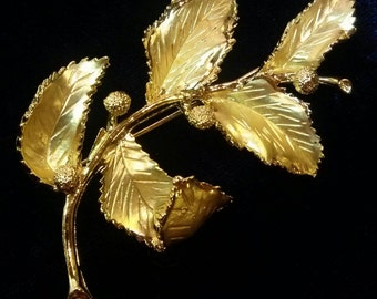 Coro Golden Leaf with Berries Brooch