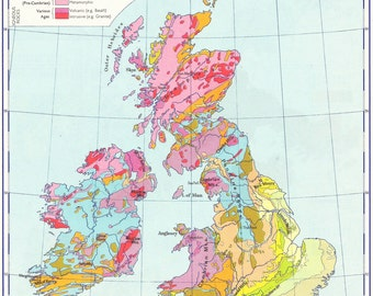 British Isles And North Sea Geological map travel adventure maps for home decor geology geography Europe Vintage Prints old maps