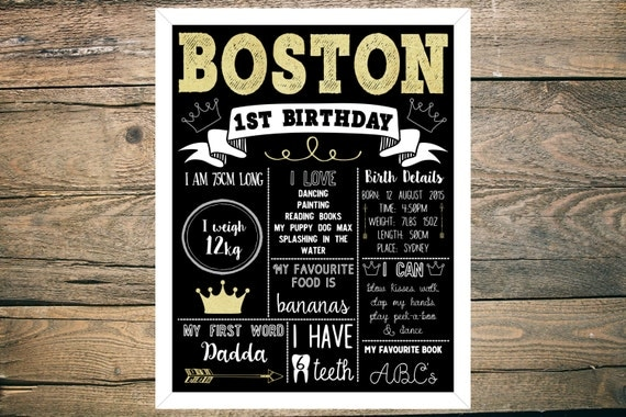 Personalised First/1st Birthday Chalkboard - Boy - 11x14 inch - Printable - Black, White, Gold, Crown theme