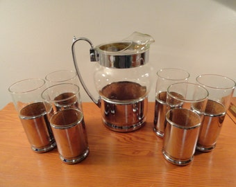 Unique Metal and Glass 7 Piece Pitcher and Glass Set