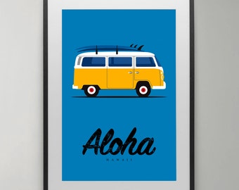Surfer print, volkswagen van, surfing, Aloha, Hawaii, Surfboard, print, Poster, Illustration, Wall Decor, Instant Download, Home decor.