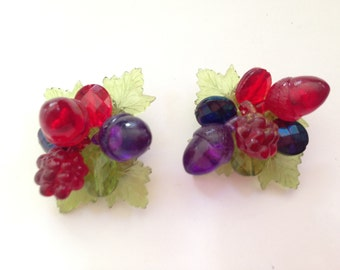 Vintage W. Germany Plastic Red, Blue, Purple and Green Cluster Earrings 0333