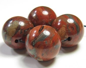 16mm Brecciated Brick Red Jasper Round Bead - 4 beads - #F6076