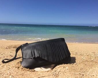 Leather Clutch w/fringe