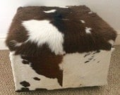 Bedpoke cowhide leather storage ottoman storage trunk upholstered footstool cowhide stool pouffe.