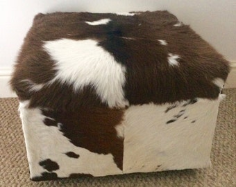 Cowhidestorage ottoman, trunk, upholstered footstool, stool, hair on hide, home and living