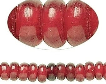 Red horn bead, primitive bead, rondelle, rustic beads, tribal beads, 8x4mm, 2.5 hole, 20 each, D455
