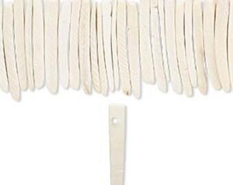 "White Wood Beads, Coconut Palm Tree, Wood Sticks, 25x4mm, 16"" Strand, D901"