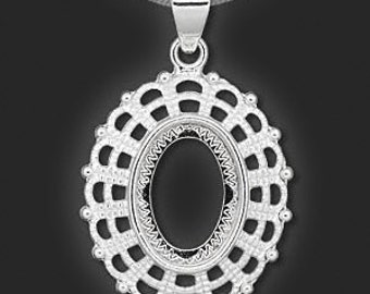 Cabochon Setting, Silver Cab Pendant, silver plate mount, filigree, Steampunk, fits 18x13mm cabochon, 1 each, D336