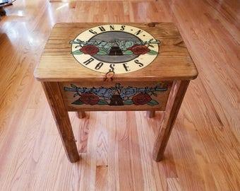 Guns-N-Roses Side Table, Guns & Roses, GNR, G-N-R, Living Room Table, Unique Furniture, Rock Memorabilia, Appetite for Destruction, Table