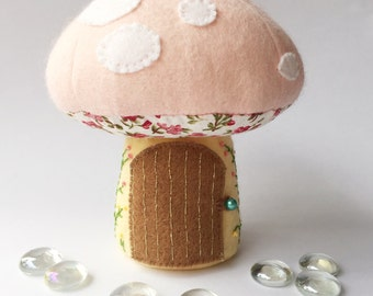 Tooth Fairy Toadstool, Tooth Fairy Pillow, Tooth Fairy House, Tooth Fairy Pouch, Fairy House. Baby pink