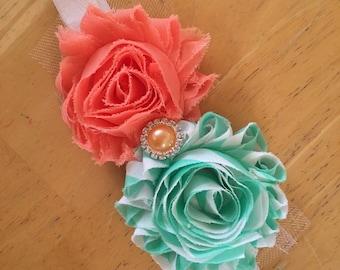 Shabby flower baby headband