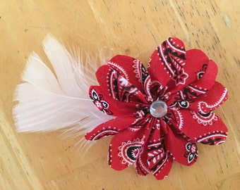 Red Paisley Hair Clip