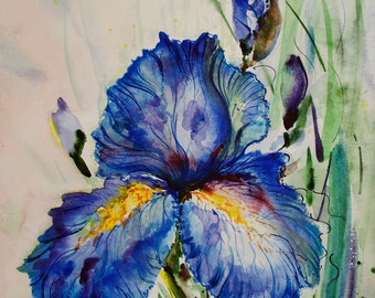 Watercolor Iris painting Watercolor flower painting Original painting watercolor painting watercolor iris art flower art original art decor