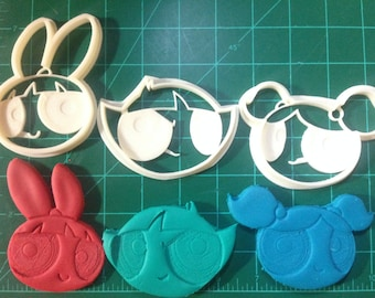 The Powerpuff Girls Bubbles, Buttercup, and Blossom Cookie Cutters