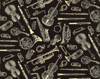 Musical Instrument Music Symphony Suite on Black Cotton Fabric by Blank Quilting Corporation per Fat Quarter FQ