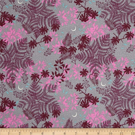 Night sky and jungle foliage cotton fabric hot springs purple for Night sky print fabric