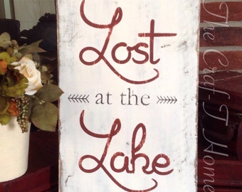 Custom wood sign wall decor home decor personalized gift I'd rather be lost at the lake