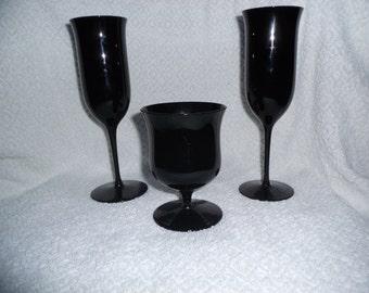 Three Black Amethyst Glasses