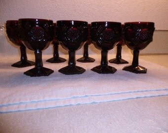8 Ruby Red Cape Cod Goblets