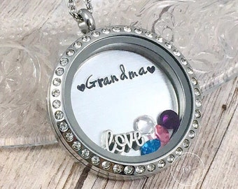 Grandma Locket, Personalized Grandma Necklace, Grandkids Necklace, Birthstone Jewelry, Nana Locket, Mimi, Grammy, Mother's Day Gift