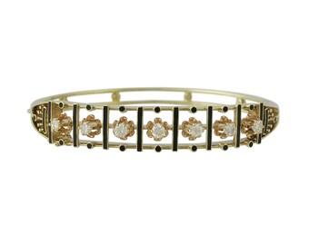 Victorian 14K Gold Diamond and Enamel Bangle Bracelet