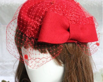 Super quality 100% wool hat fascinator dotted with bow and veil  # HWW16005
