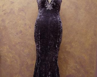 Dress woman velvet dress, purple bridesmaid dress elegant Grey Velvet Mermaid dress, dress Couture, size 42-44.