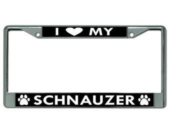 I Heart My Schnauzer Dog Chrome License Plate Frame - LPO2776
