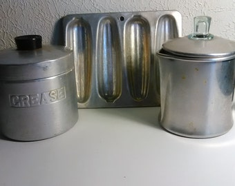Vintage Grease Hold, Coffee Pot, Cornbread pans