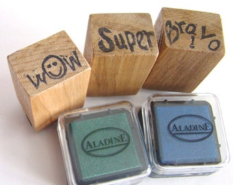 Stamp set «Cheerings» Wood support, Hand made engraving. Perfect for Teachers and child care.