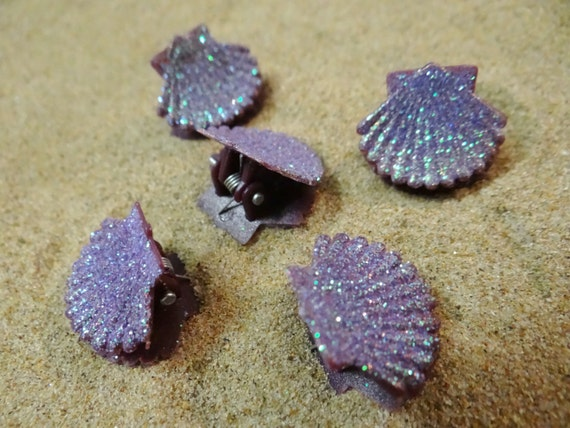 5 pc Purple Glitter Shell Seashell Clam Clamshell Hairclip Hair Clip Accessory Claw Mermaid Ariel Accessories Butterfly Clips Ursula