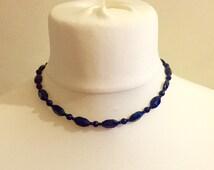 Vintage Navy Blue Glass Necklace