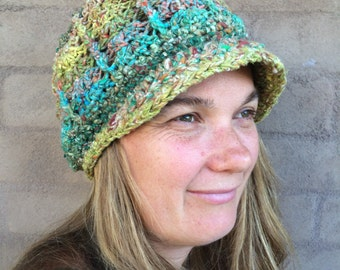 Crochet Noro Winter Hat with Brim