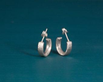Small sterling silver hammered hoop earrings