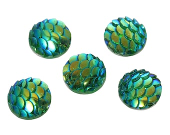 10mm Mermaid Scale Dome Seals Cabochon Round Green AB Color 10 cabs, 6118, 913a