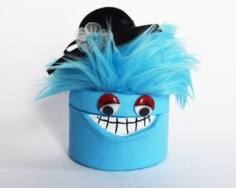 Cookie the aqua blue monster trinket/jewelry box