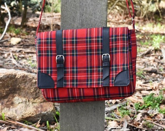 Tartan Messenger Handbag With Genuine Leather Accents