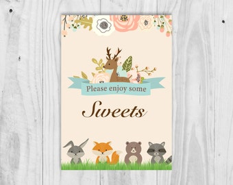 Printable Woodland Sweets Sign, Sweet Treat, Favour Sign, Baby Shower Sign, Printable.  INSTANT DOWNLOAD