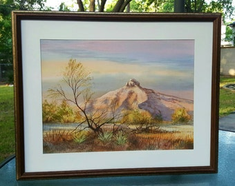 Original watercolor Painting, West Texas landscape, Clive Pryke, Desert Landscape, Western Watercolor Painting, Southwestern Watercolor