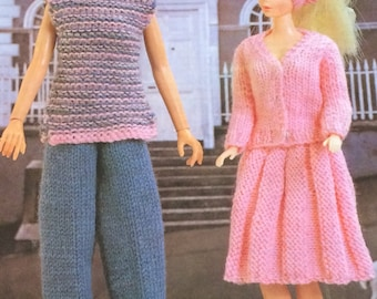 Dolls Clothes A Day In Town ,Fashion dolls size Eg Barbie Knitting Pattern