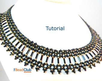 Bugle Bead Collar Pattern - Seed Bead Necklace Pattern - Beading Pattern and Tutorial - Beadweaving Tutorial - PDF - Brilliant Bugle Collar