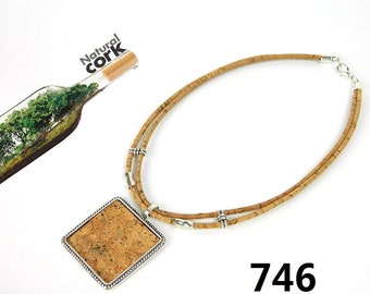 Portugal Cork necklace Square necklace, cork patch accessories Environment-friendly materials