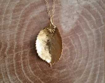 24k Gold Electroplated Leaf Charm Necklace, Layering Necklace, Tribal Necklace, Boho Necklace, Gypsy Necklace, Gemstone Necklace