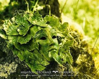 Green Man paper-mache Mask